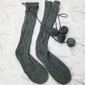 PINK sweater booties grey cable knit